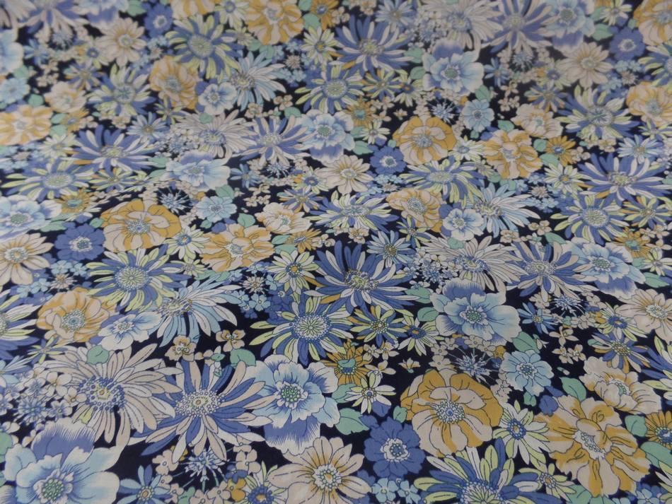 Popeline coton 100 imprime fleurs ton bleu et jaune4