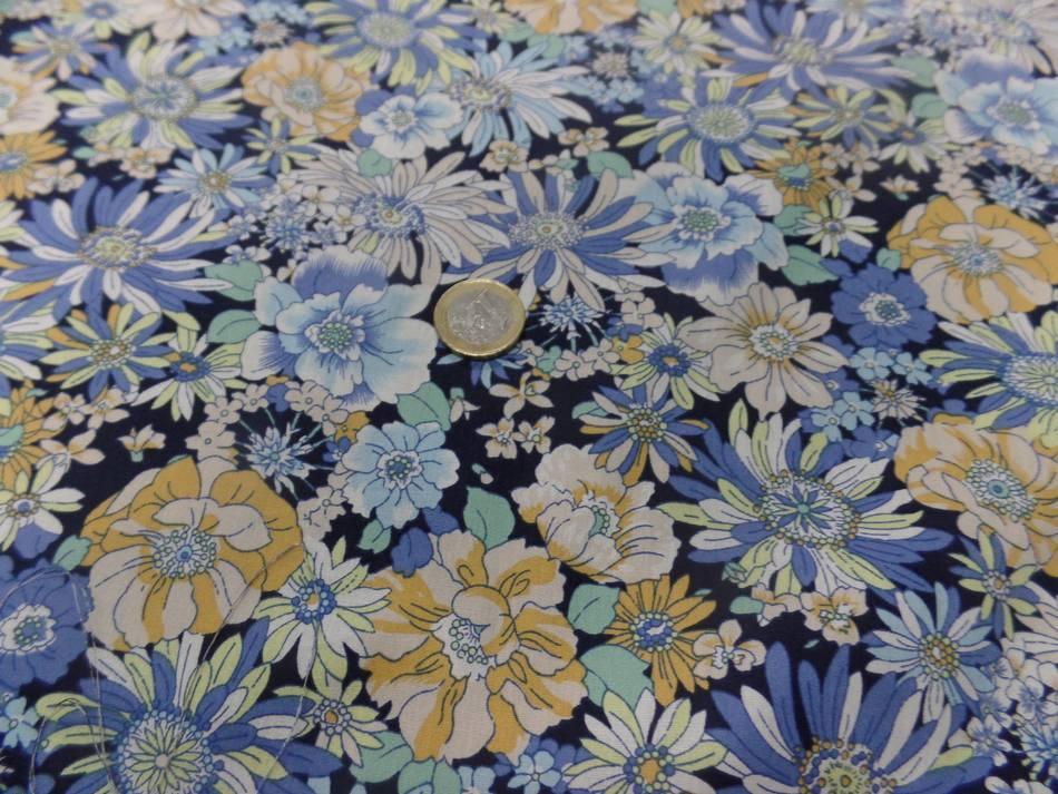 Popeline coton 100 imprime fleurs ton bleu et jaune5