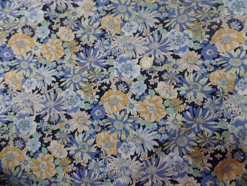 Popeline coton 100 imprime fleurs ton bleu et jaune7