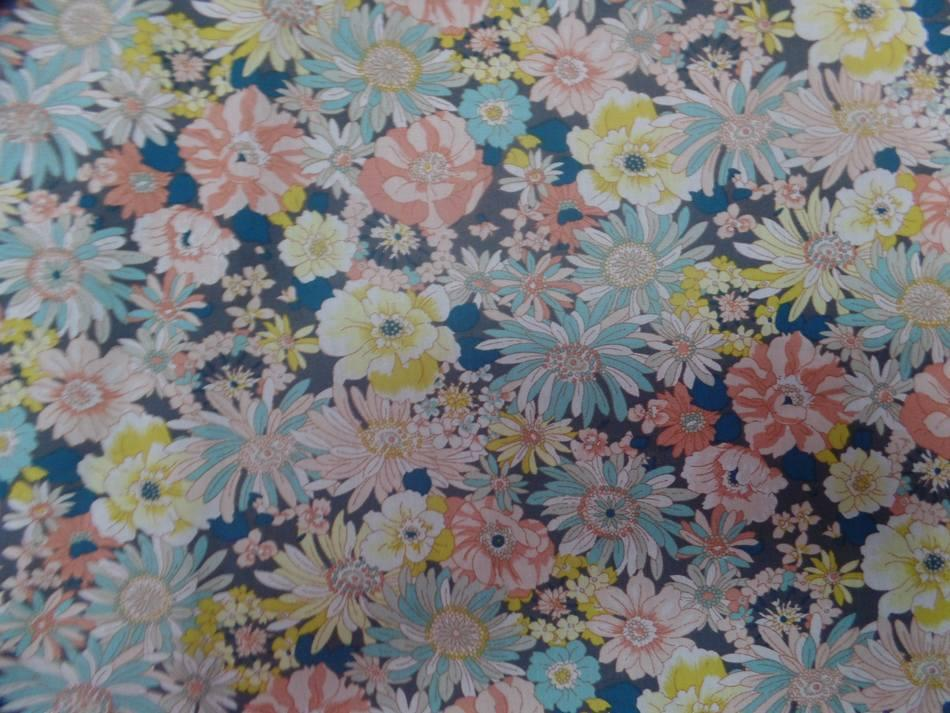 popeline coton 100% imprimé fleurs ton jaune et bleu pastel