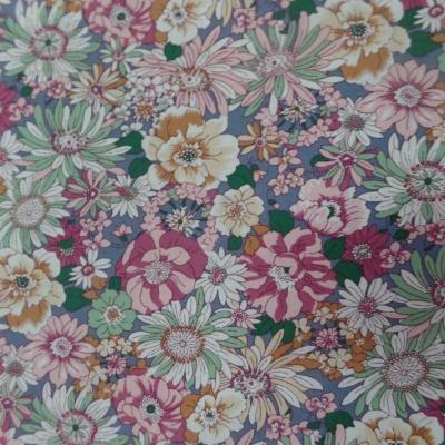 TISSU popeline-coton-100-imprime-fleurs-ton-rose-pastel