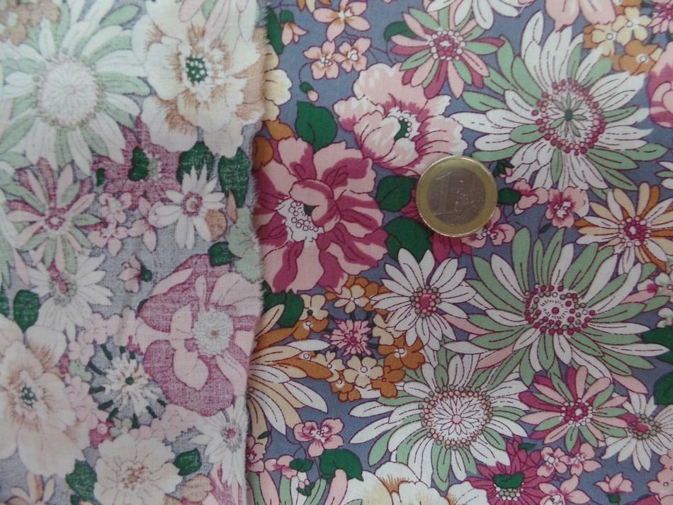popeline coton 100% imprimé fleurs ton rose pastel