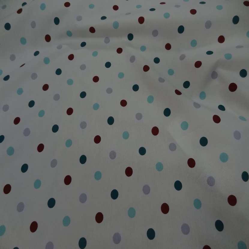 tissu popeline coton blanche a pois