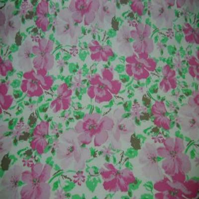 Popeline coton blanche imprime fleurs rose blanche 1
