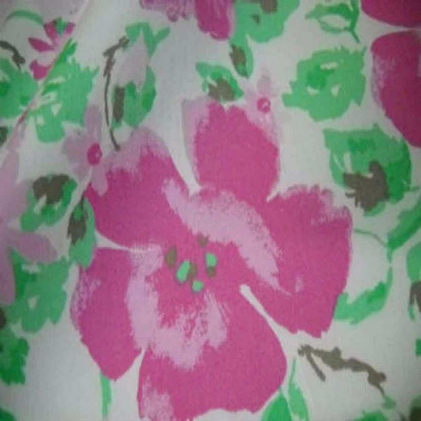 Popeline coton blanche imprime fleurs rose blanche1
