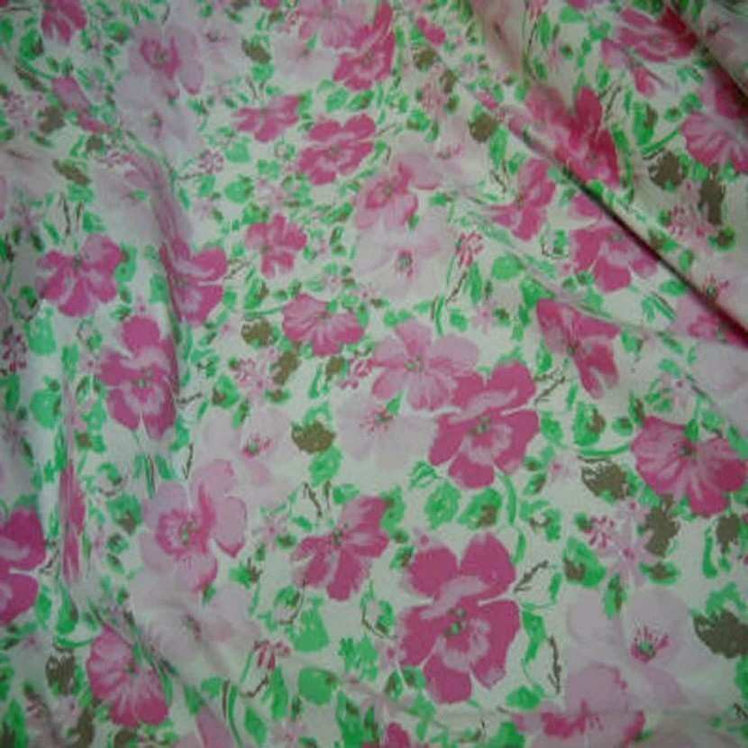 Popeline coton blanche imprime fleurs rose blanche3