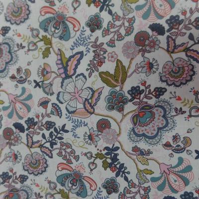 Popeline coton blanche imprimé motifs fleurs multicolore