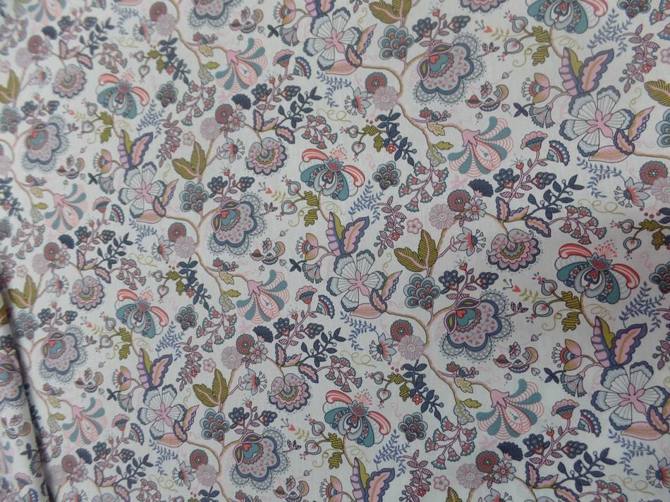 vente de popeline coton blanche imprimé motifs fleurs multicolore en ligne