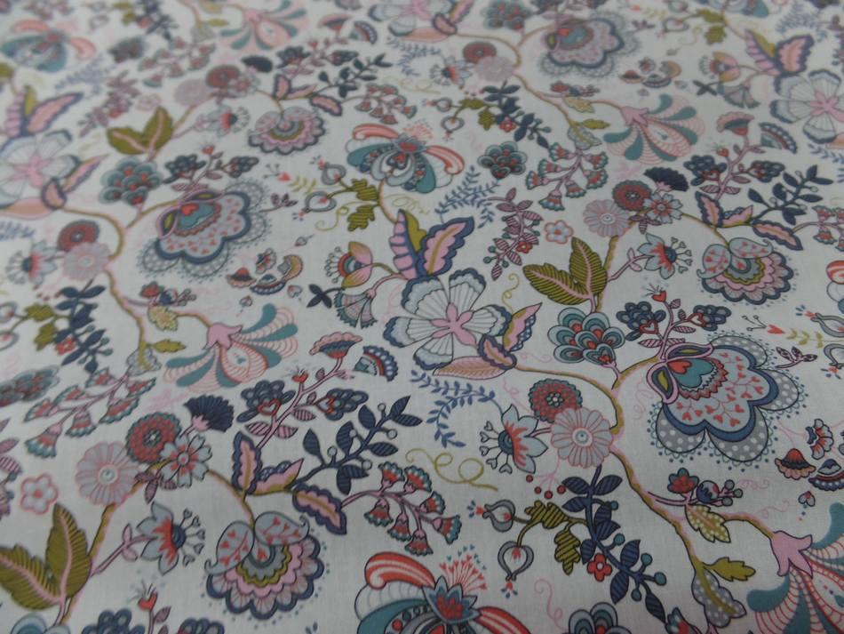 vente de tissu popeline coton blanche imprimé motifs fleurs multicolore