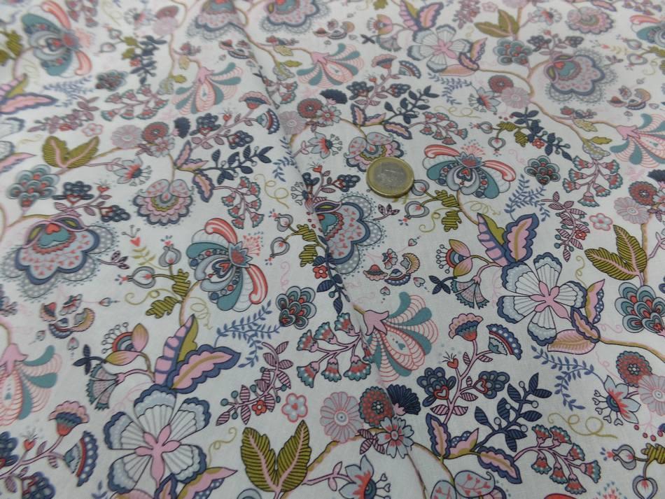 popeline coton blanche imprimé motifs fleurs multicolore pas cher