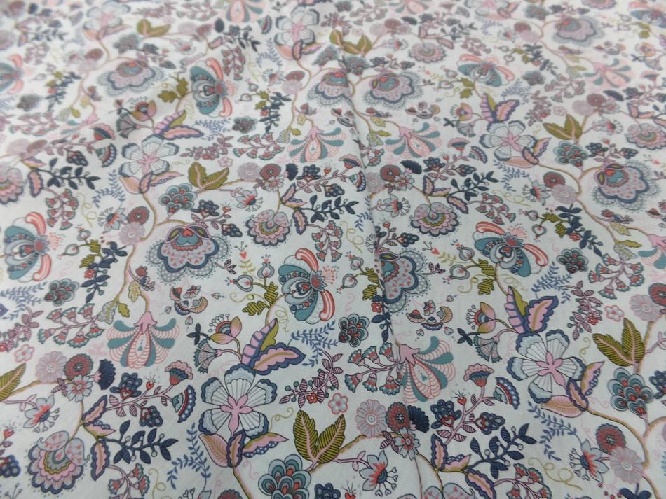 popeline coton blanche imprimé motifs fleurs multicolore en ligne