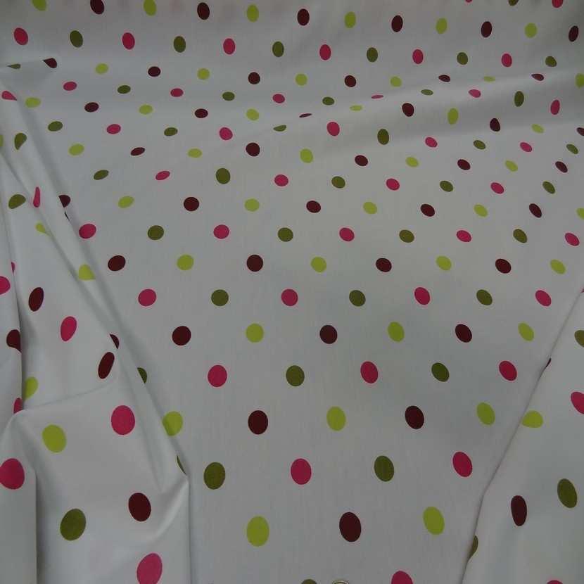 Popeline coton blanche imprime pois multicolore