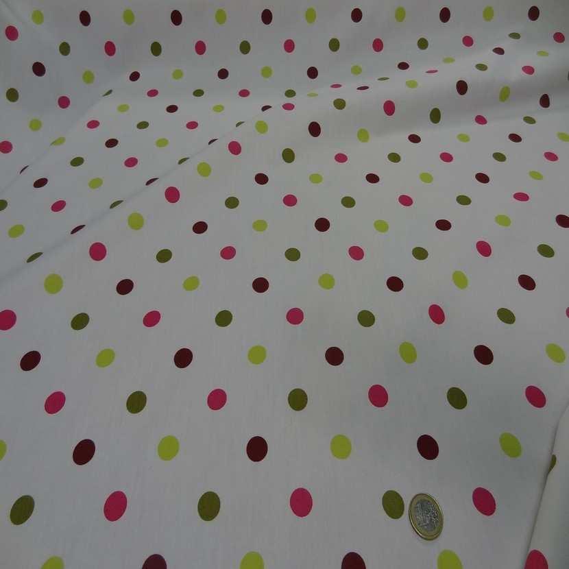 Popeline coton blanche imprime pois multicolore02