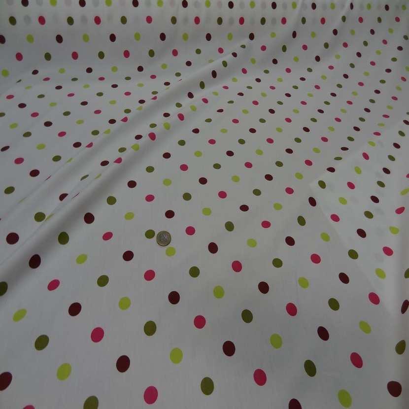 Popeline coton blanche imprime pois multicolore2