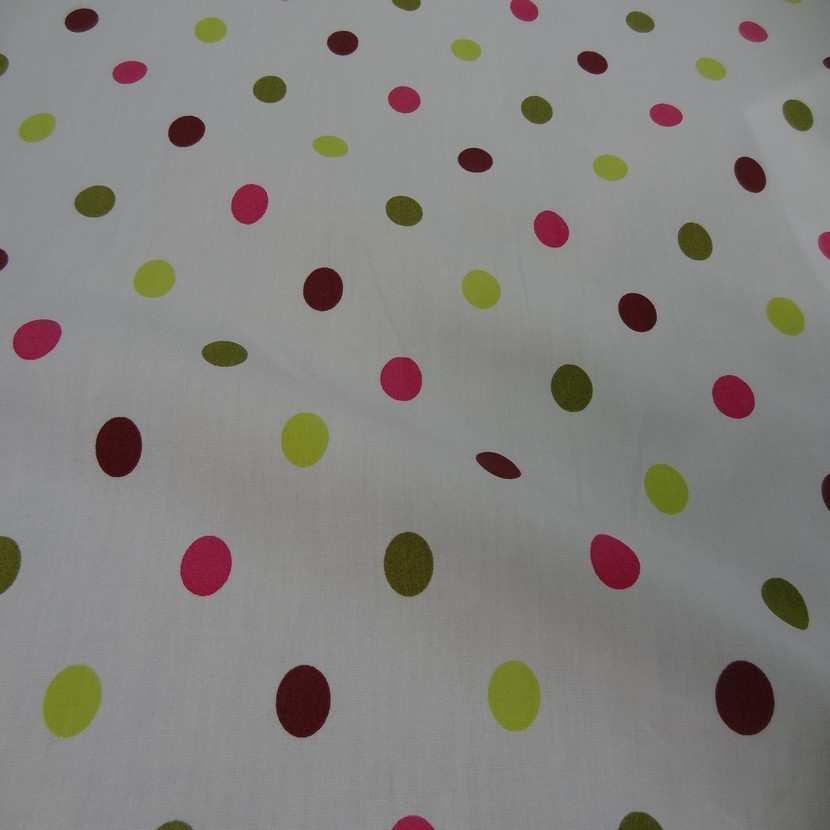 Popeline coton blanche imprime pois multicolore4
