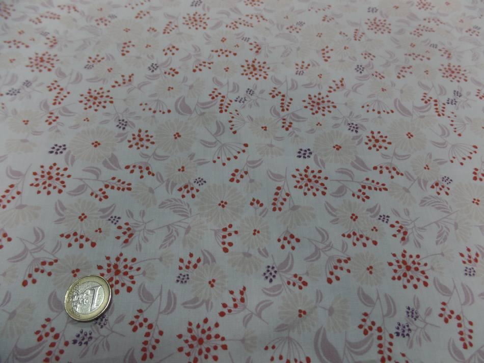 Popeline coton blanche imprime style liberty fleurs multicolore