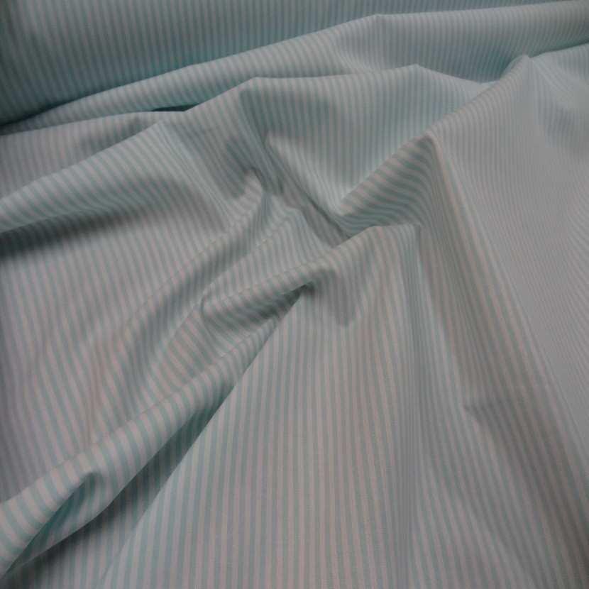 Popeline coton blanche raye bleu2