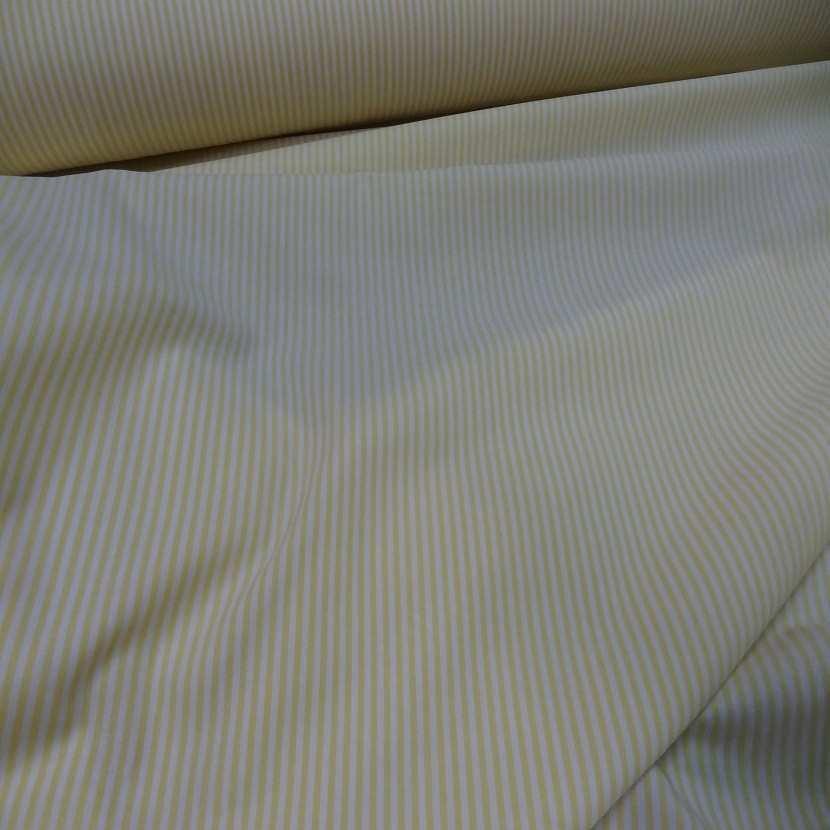 Popeline coton blanche raye jaune
