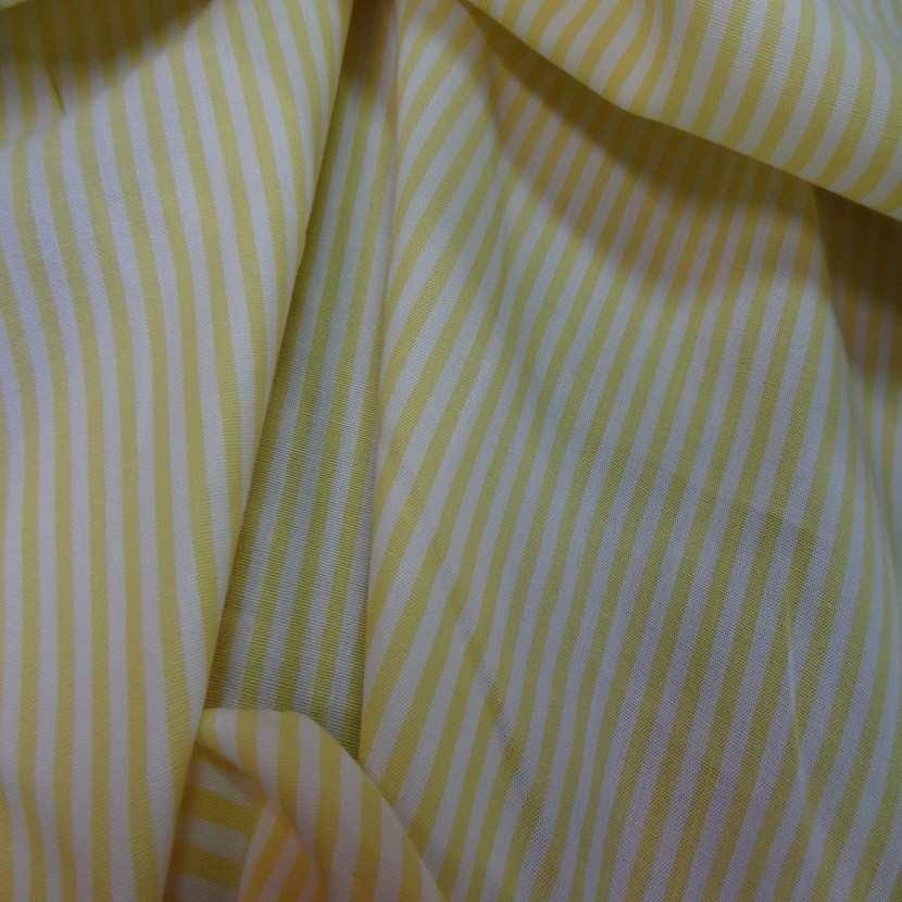 Popeline coton blanche raye jaune00