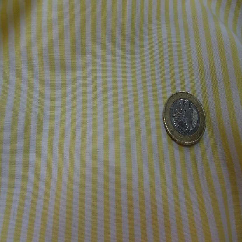Popeline coton blanche raye jaune06