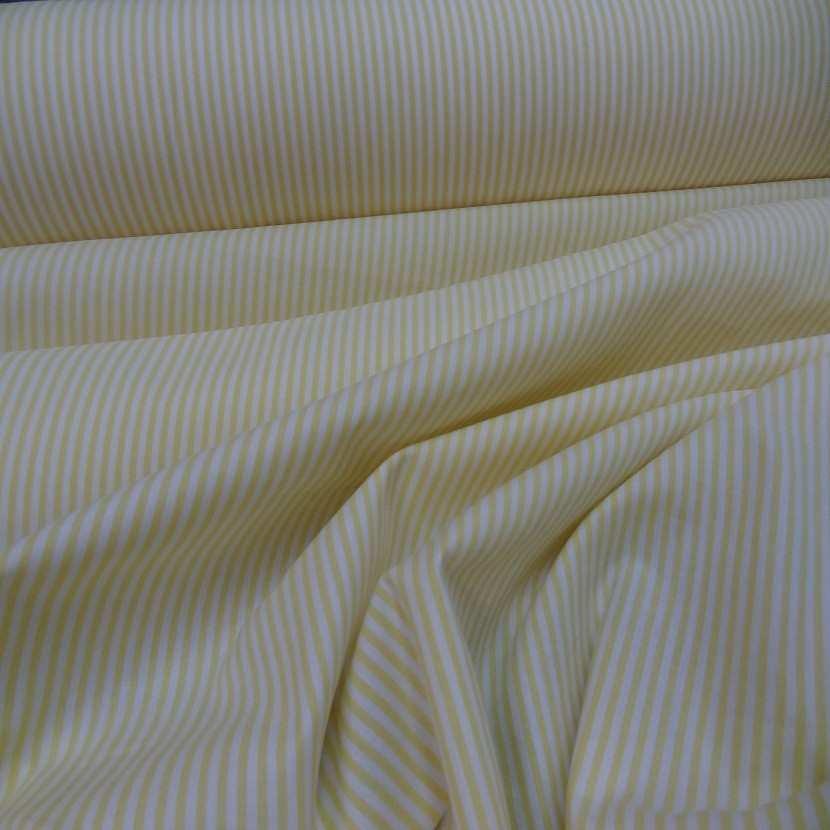 Popeline coton blanche raye jaune6