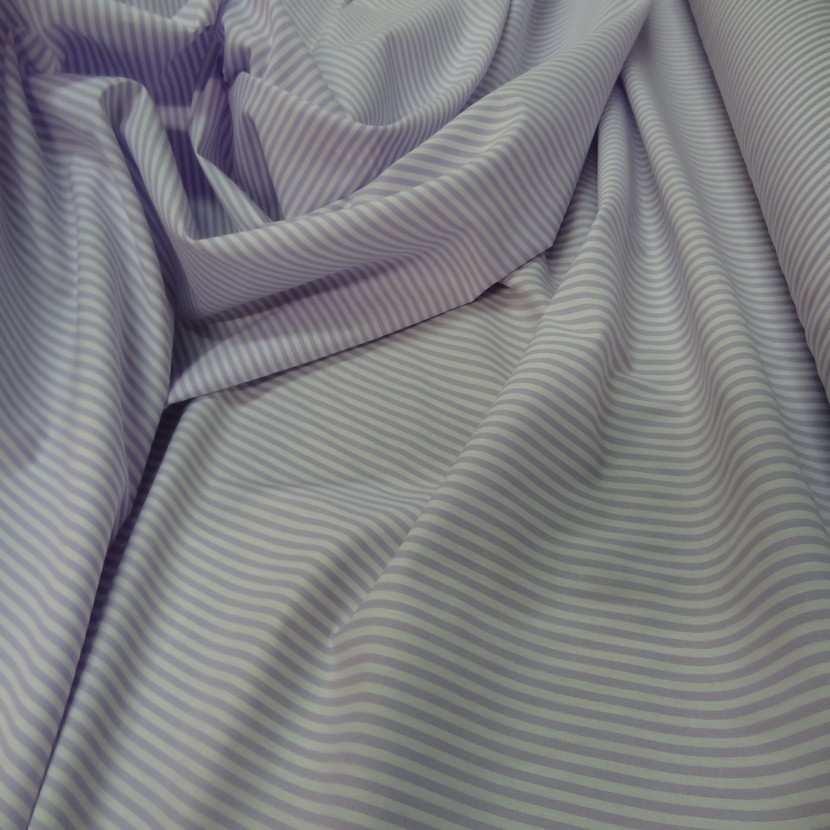 Popeline coton blanche raye mauve lavande8