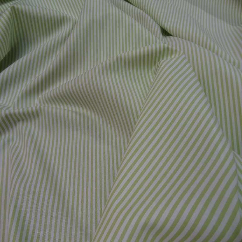 Popeline coton blanche raye vert tilleul