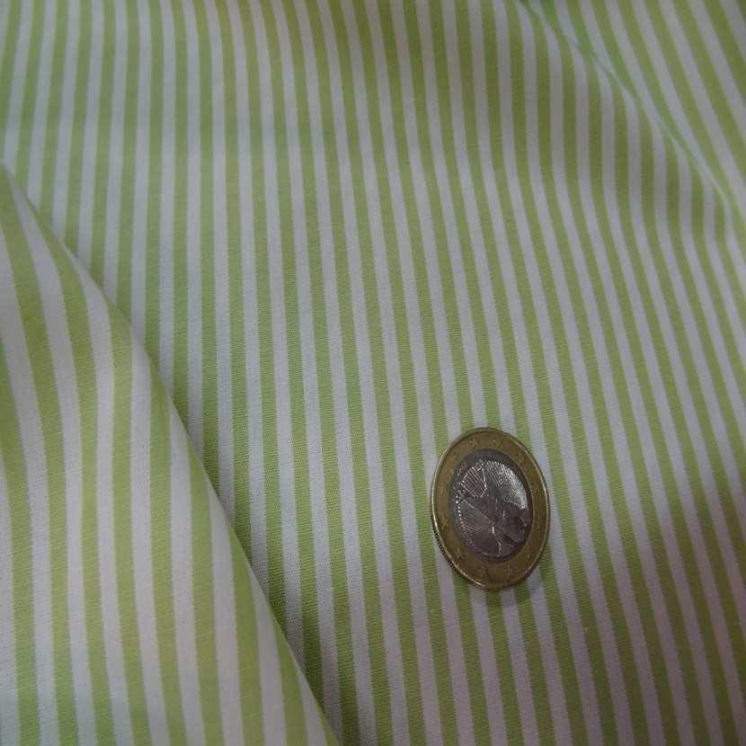 Popeline coton blanche raye vert tilleul05