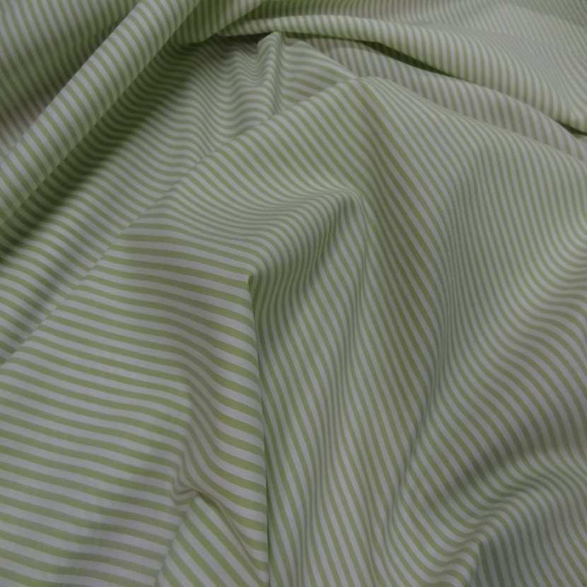 Popeline coton blanche raye vert tilleul5