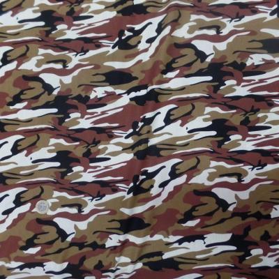 Popeline coton imprimé armée camouflage ton blanc marron noir