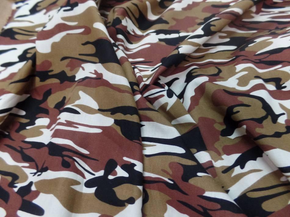 Popeline coton imprime armee camouflage ton blanc marron noir2