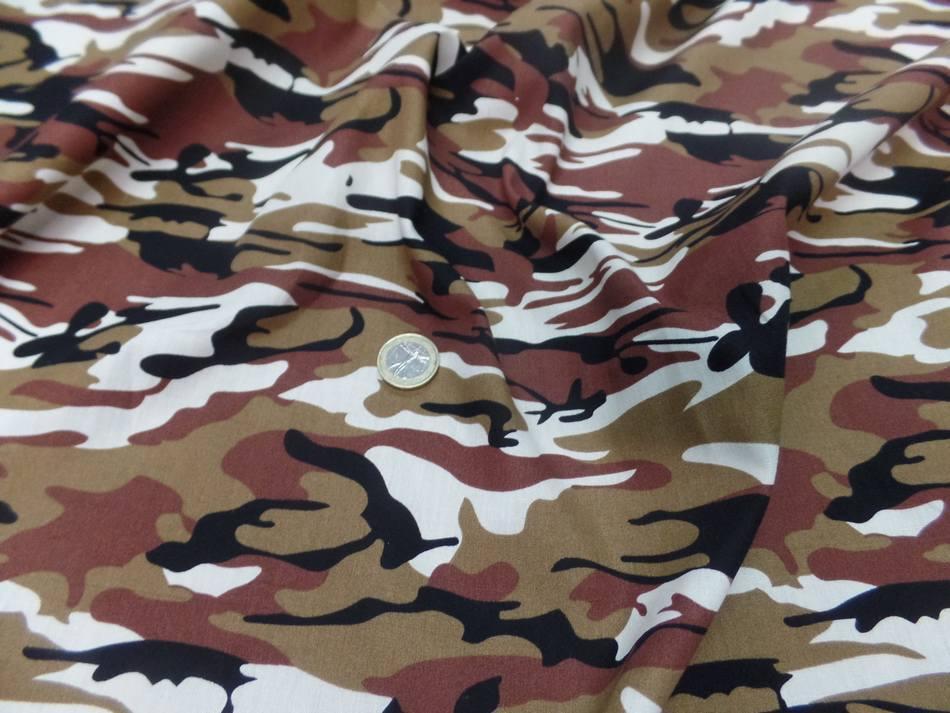 Popeline coton imprime armee camouflage ton blanc marron noir4