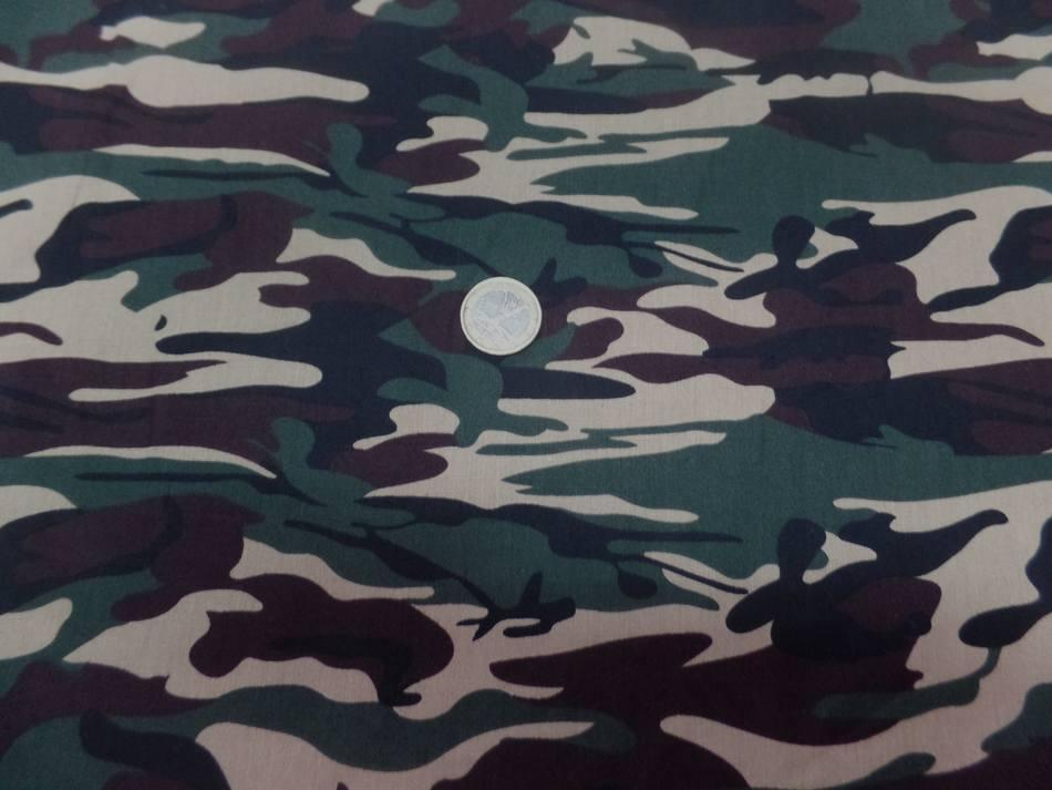 vente de Popeline coton imprimé armée camouflage ton vert beige marron