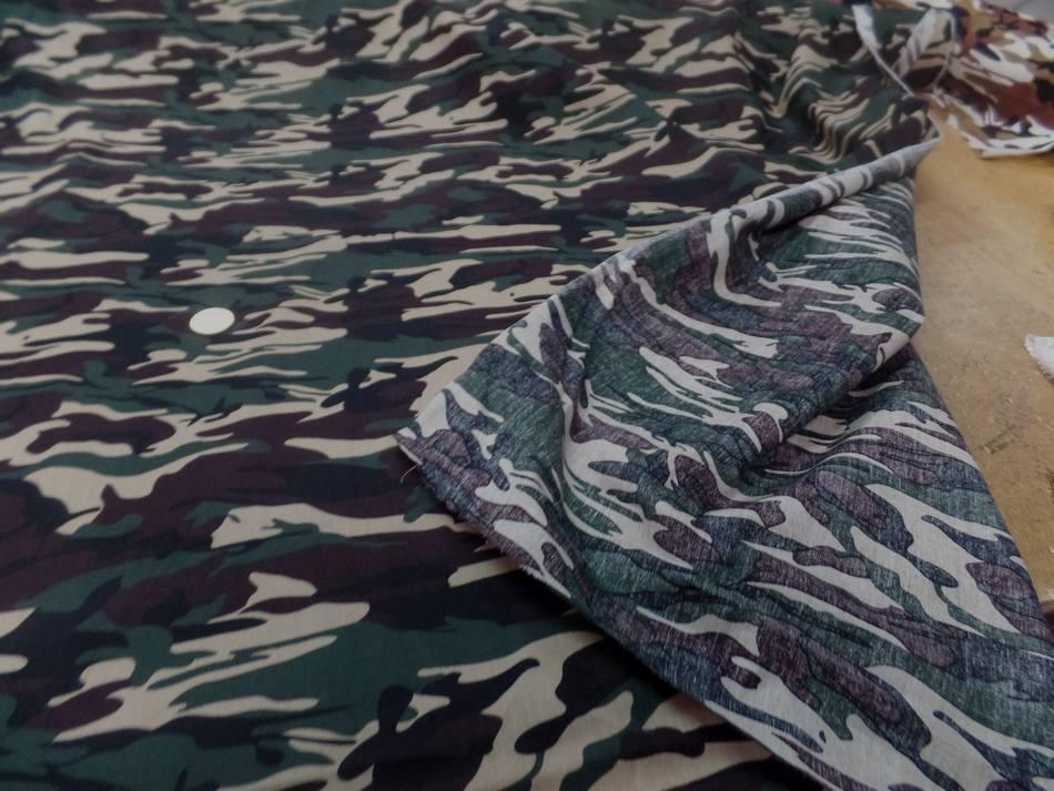 Popeline coton imprimé armée camouflage ton vert beige marron en ligne