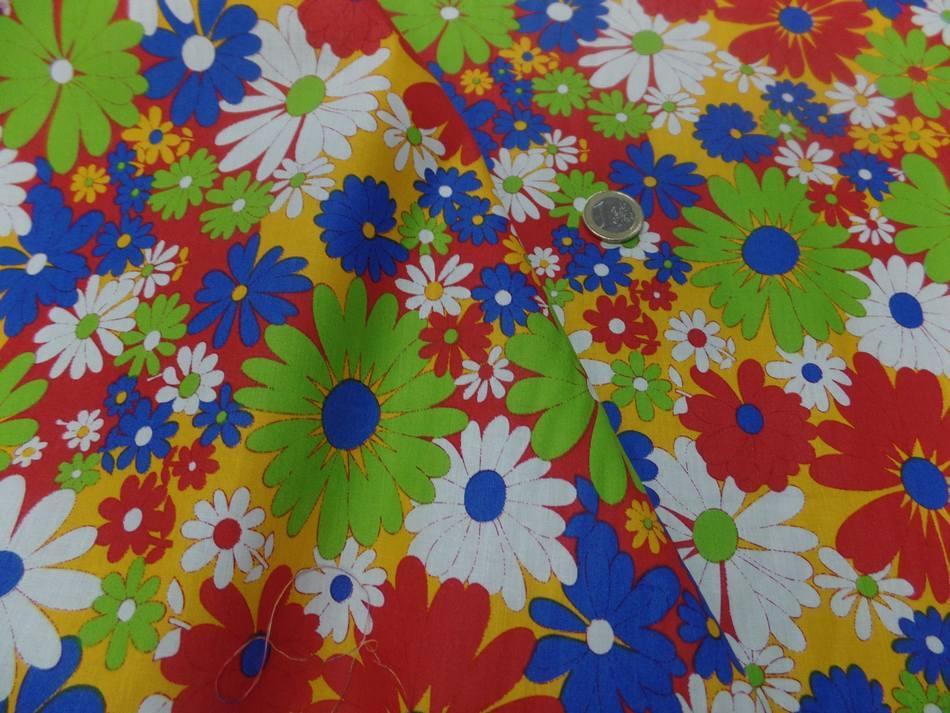 Popeline coton imprime fleurs ton rouge vert blanc bleu1