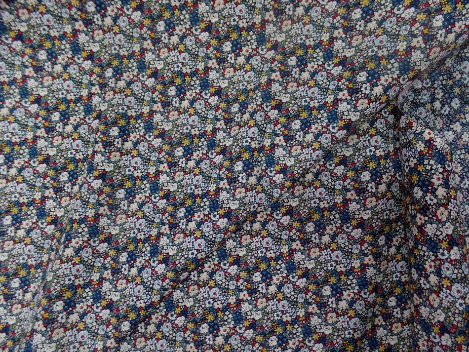 Popeline coton imprime liberty fleurs blanc bleu jaune et rouge0