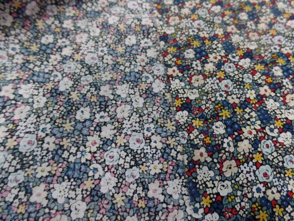 Popeline coton imprime liberty fleurs blanc bleu jaune et rouge7