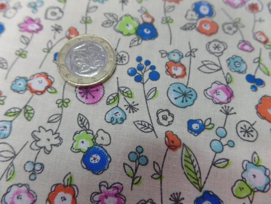 Popeline coton jaune clair 100 imprime fleurs ton bleu vert orange 2