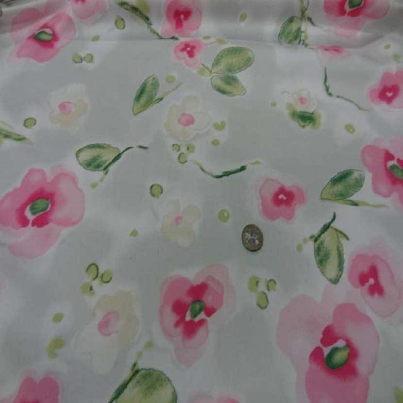 Popeline coton lycra blanche imprime fleurs rose7