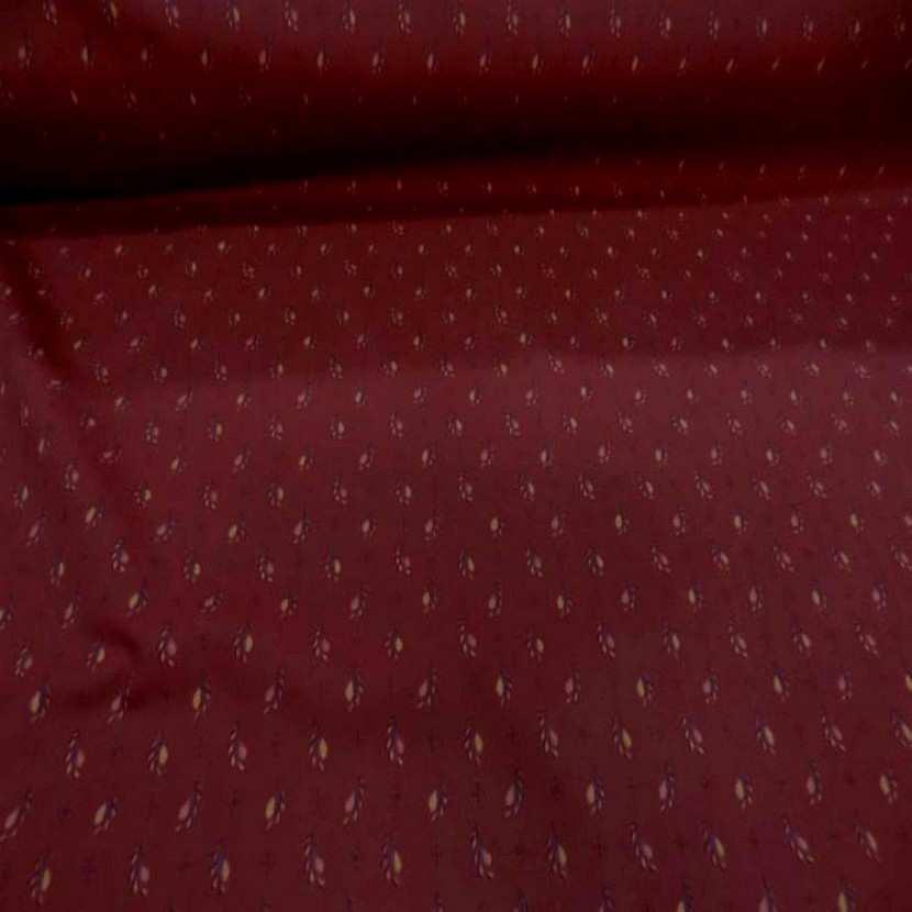 Popeline coton lycra imprime ton bordeaux motifs plumes4
