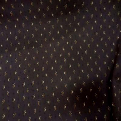 Popeline coton lycra imprime ton marron motifs plumes