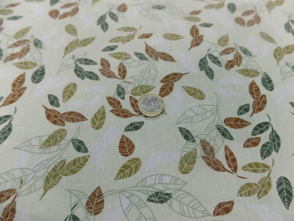 Popeline coton vert pastel imprime feuilles2