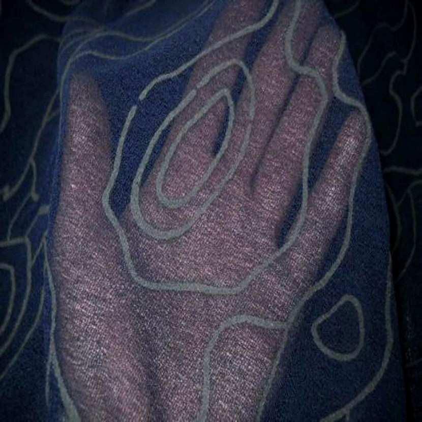 Resille aspect mousse bleu nuit imprime7