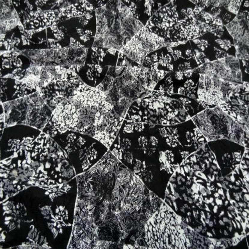 Resille dentelle lycra imprime ton blanc noir6