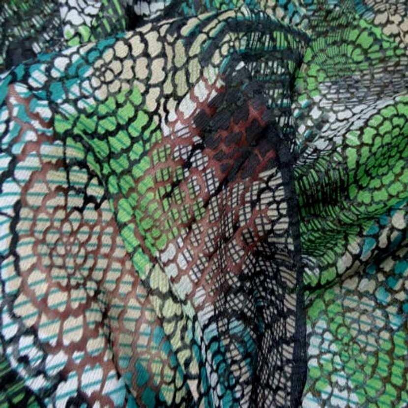 Resille faconne aspect dentelle noir et vert