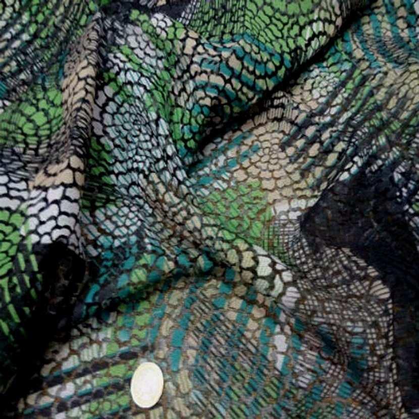 Resille faconne aspect dentelle noir et vert1