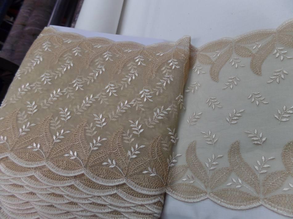 achat résille façonné dentelle ton beige chair brodé en 25cm
