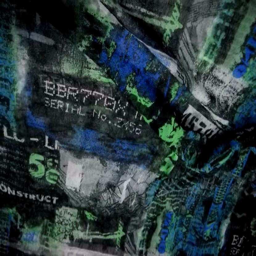 Resille froisse permanent imprime ton noir bleu vert8