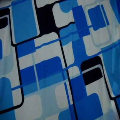 Resille imprime annee 70 ton bleu