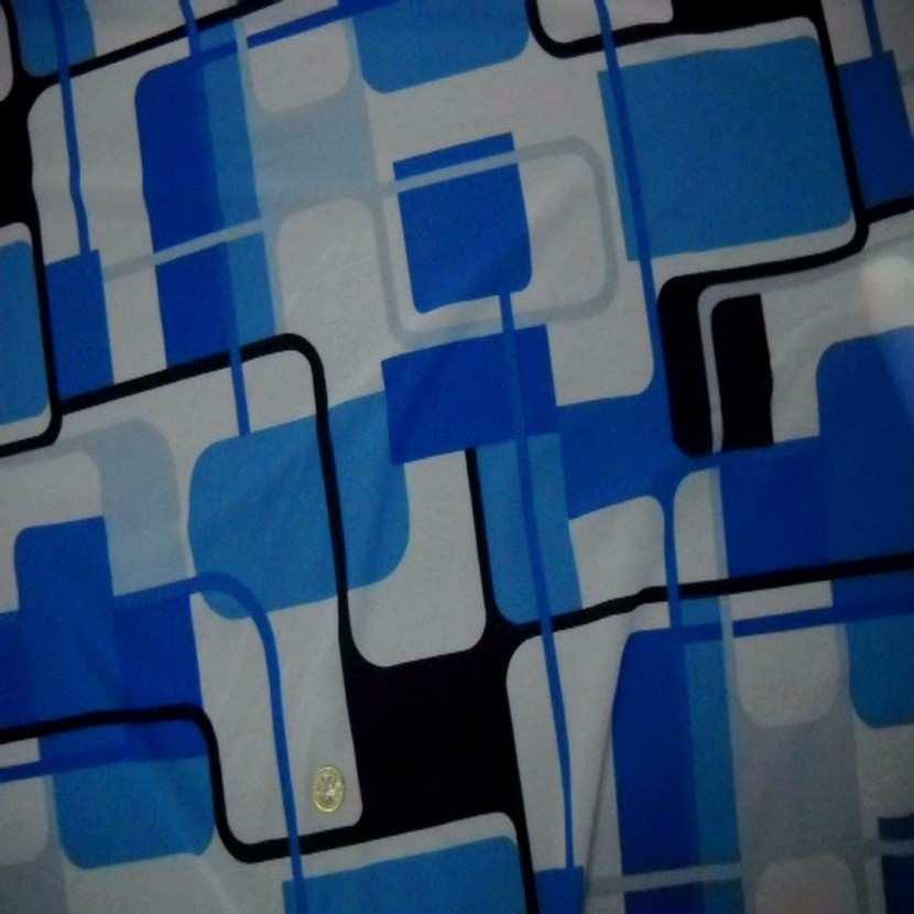 Resille imprime annee 70 ton bleu7